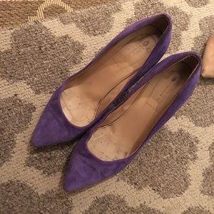 JCREW EVERLY purple suede heels 8.5